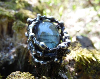 """Beautiful magical ring with labradorite stone. New exclusive collection """"FOREST GODDESS"""". Original design. Magic averter. Amulet."""
