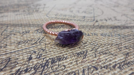 Raw Amethyst - Copper Electroformed Ring size 8 - Amethyst Ring - Rustic Ring