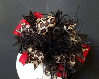 Leopard & Red Over The Top Boutique Hairbow Ostrich Feather