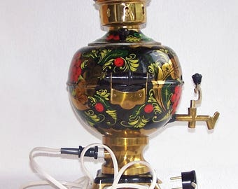 SAMOVAR. Hand Painted Russian Brass Samovar. 3 Liter Working  Electric Samovar Made in the USSR. Electric Water Heater. Electric Teapot.