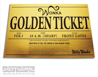 Willy Wonka Golden Ticket Printed Card, Oompa Loompa Costume Party, Chocolate Factory