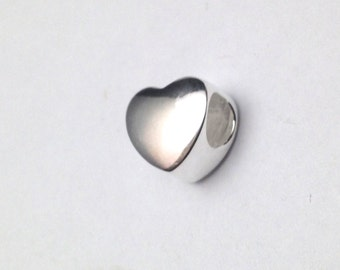 Sterling Silver Heart Bead, European Heart Bead, Charm Bead, Stampable and engravable bead.