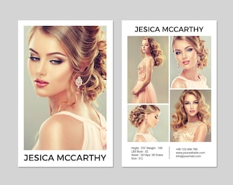 Modeling Comp Card | Fashion Model comp card Template | Photoshop, Elements and MS Word Template | Instant Download | mc-24