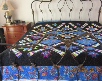 Reduced King Size Quilt, Stars Galore King Quilt, Quilted King Size, King Size Quilt