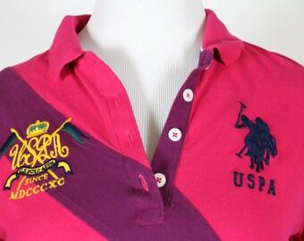 U.S. Polo Assn. Hot Pink Long Sleeve Women's Shirt Size Large