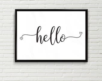 Hello Typography print Instant Download, Printable Wall Art, hello word Print, modern wall art, A5, A4, A3, black and white