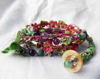 Hindu pink and green wrap bracelet
