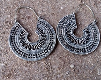 Brass hoop earrings, tribal earrings, gypsy earrings,hippie earrings
