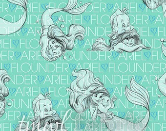 Knit Fabric - Disney Princess Ariel Sketches on Text - Fat Quarter Yard +