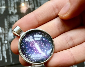 MILKY WAY Hand Painted Glass Pendant