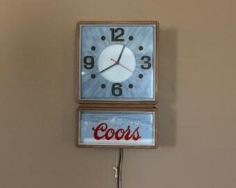 Vintage Coors Illuminated Clock/Coors Light Sign/Beer Clock/Budweiser Sign/Vintage Beer Sign/Beer Wall Art
