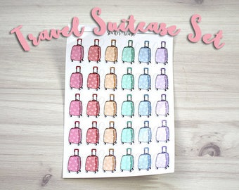 Cute colorful heart suitcase travel planner stickers Matte or Glossy -  for use with Erin condren planner  - #57