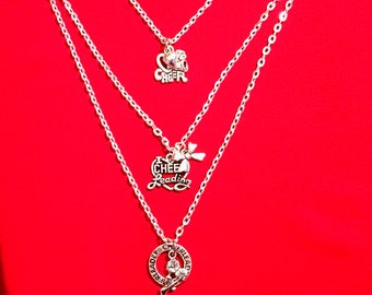 Cheerleading Charm Necklace SET of 3 Silver, Cheerleading Jewelry, Cheerleading Necklace, Cheerleading Coach, Cheerleading Gift, Cheer Quote
