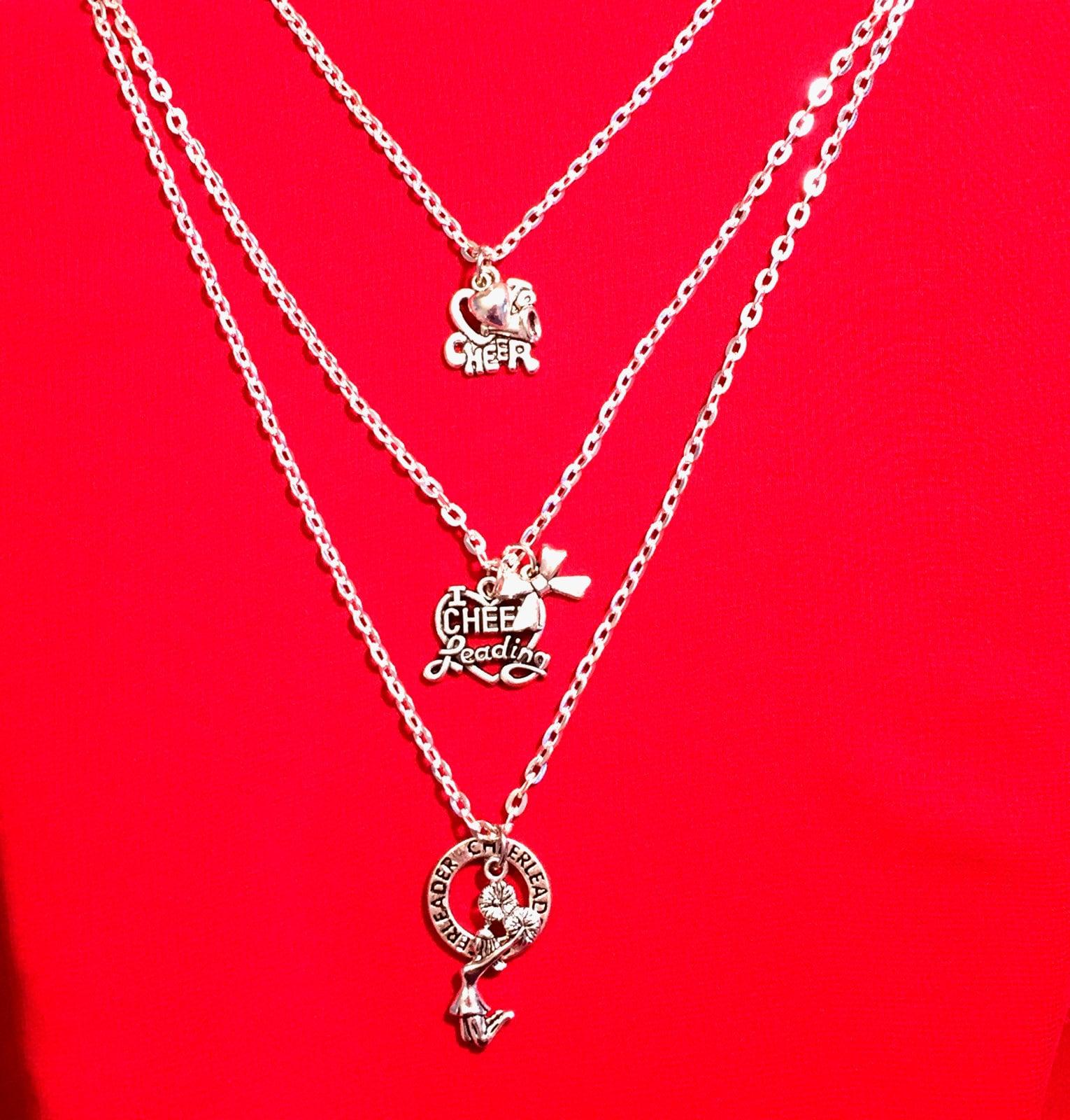 cheerleading charm necklace set of 3 silver cheerleading