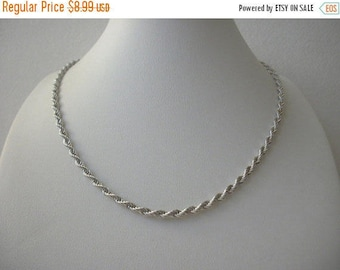 ON SALE Vintage MONET Silver Tone Rope Metal Necklace 30117
