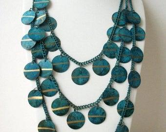 ON SALE Vintage 1950s Massive Patina Triple Strand Gold Metal Link Chain Necklace 31017