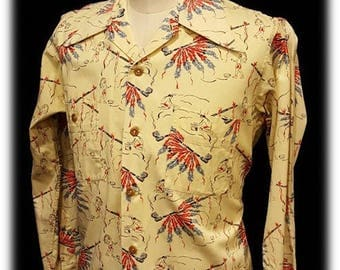 Liondale ~ 1940's ~ 1950's ~ Mens ~ American Indian ~ Chief ~ Peace Pipe ~ Long Sleeve ~ Shirt ~ Amazing Find ~ Pacific Made Cloth ~ Wow!!!