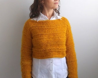 Cropped sweater,mustard knitted sweater,wool crop top,boho top,gift for her,winter top,READY TO SHİP