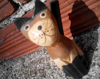 "cat , cat vintage wooden ""the sympathetic """