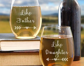 Like Father Like Daughter Stemless Wine Glasses, Gift Ideas, Gift Ideas For Dad, Gifts For Dad, Father Daughter Set, Gift Ideas, Set of 2