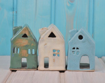 Beautiful tea light holder - small house - candle holders - Christmas decorations - Christmas decorations - production order
