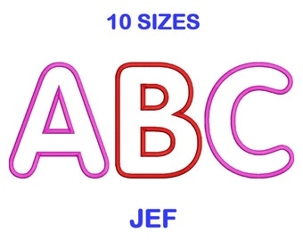 Applique Embroidery Font Set - 10 Size - JEF Format Embroidery Alphabet - Embroidery Letters - Machine Embroidery Designs Patterns