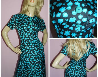Vintage 40s 50s Black/Blue FLORAL print TEA dress 14 M 1950s Mid Century Abstract