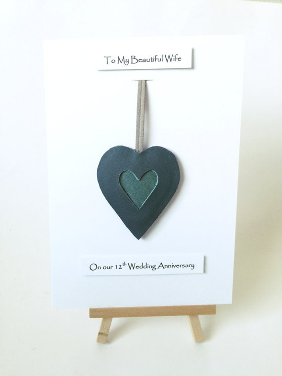 Gift For 12 Year Wedding Anniversary: 12th Wedding Anniversary Silk Gift Cards Leather Heart Silk