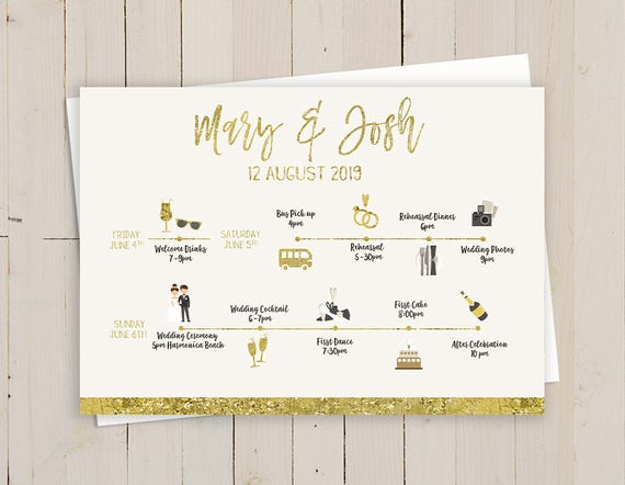 Gold Wedding Weekend Itinerary Template Printable Gold