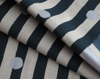 Etsuko Furuya for KOKKA Echino Metallic Cotton Linen Canvas| 96400-404-D | By the yard |Stripes & Dots