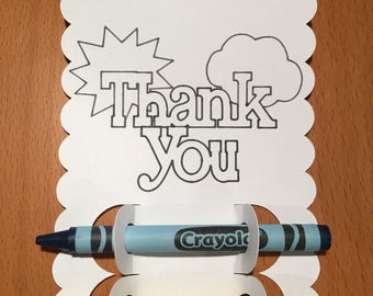Thank You Coloring Cards/Kids Coloring Cards/Coloring Cards