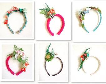 One of a kind, custom design, girls dress up, Creative play, pretend play, fantasy headbands, mermaid play, fairy play