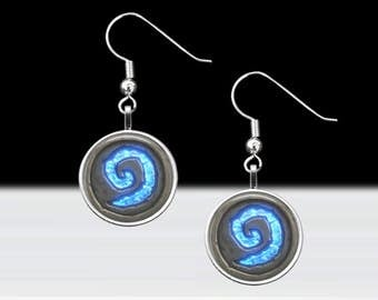 "Hearthstone Dangle Earrings - World of Warcraft Jewelry - Gamer Girl Gift - Pierced Ears Jewelry - 16mm or 5/8"" Charm on 18mm Fish Hook"