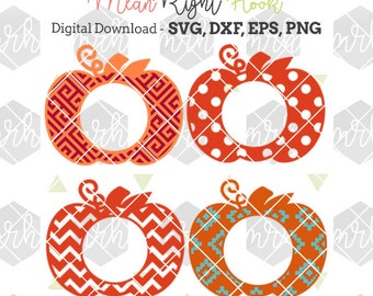 Pumpkin Monogram SVG Fall / Autumn / Halloween svg INSTANT DOWNLOAD vectors for cutting machines: svg, png, dxf, eps -monograms not incl.