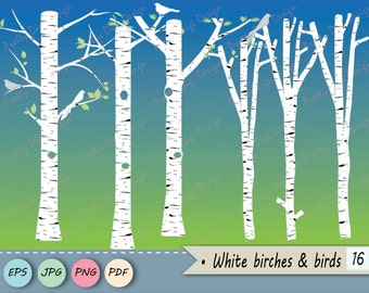 White Birch clipart, Tree clipart, Birch vector, Birch PNG, Birch tree digital, Bird clipart, Bird png Silhouettes, Tree png, Tree vector