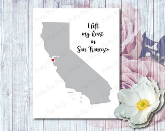 I left my heart in San Francisco, Digital California map with heart jpg, png, eps, pdf, California shape, Heart in California, Travel poster