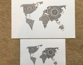 Mandala world map print