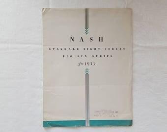 Nash 1933 Standard 8 & Big 6 Foldout Sales Brochure