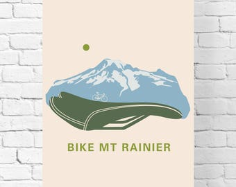 Men's Cyclist Gift – Hiking Travel Poster Vintage - Home Décor - Mt. Rainier National Park - Bike Wall Art Décor - Bicycle Wall Art