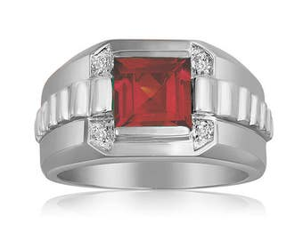 Square Ruby Red Ring, Men's Ruby Ring, 925 Sterling Silver Ring, Silver Diamonds & Red Ring, Silver Red Gemstone Ring for Men Gift for Him