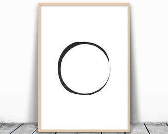 Zen Art Print, Zen Wall Print, Zen Art, Circle Print, Circle Printable, Minimalist Art, Modern Art Download, Black Circle, Minimalist Circle