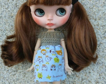 Dress for Blythe little animals blue