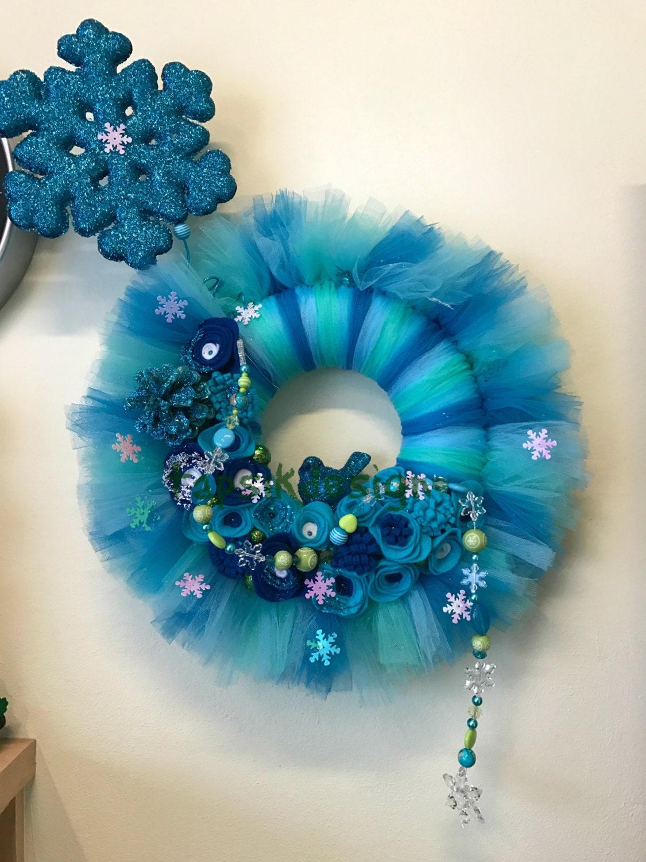 Winter Tulle Wreath Felt Flower Wreath Winter Wall Decor