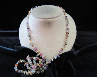 Vintage Multi Colored Glass Stone Long Necklace