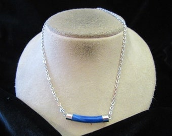 Vintage Signed Sarah Coventry Blue Plastic Pendant Necklace