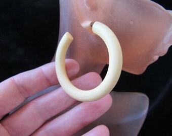 Vintage Pair Of Large Pale Yellow Pierced Hoop Dangle Earrings