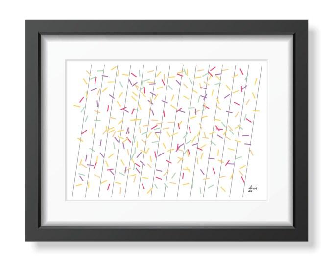 Pi sticks 05 [mathematical abstract art print, unframed] A4/A3 sizes