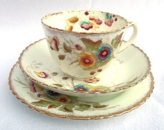 Tea Trio Antique Hand Painted Tea Cup, Saucer and Side or Sandwich Plate, Victorian English Bone China, Excellent Condition