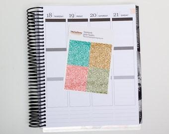 Steampunk Glitter headers / Erin Condren vertical /  glitter strips / glitter stickers / planner stickers / kit add-on