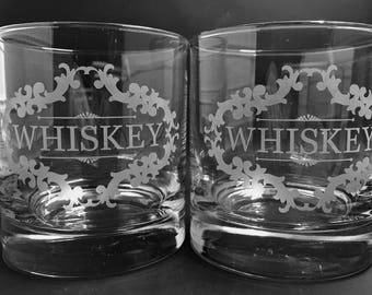 Whiskey Glasses Whiskey Gift Etched Whiskey Glass Scotch Glass Bourbon Glass Rocks Glass Whiskey Lover Set of 2